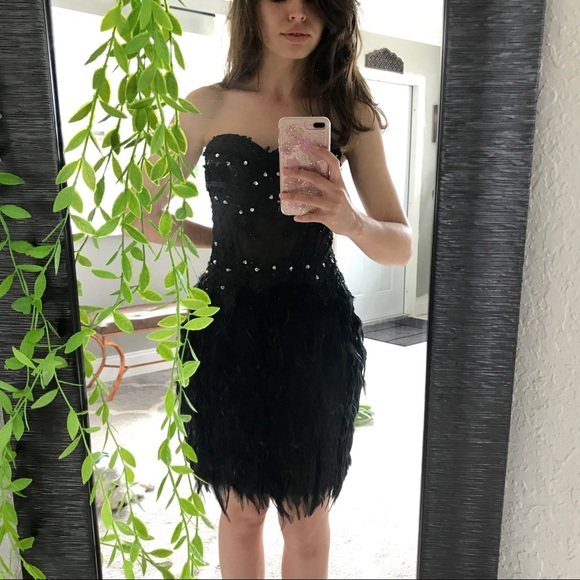 4335b6087ca Dresses   Skirts - Black Feather Cocktail Dress
